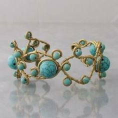 Open Swirl Reconstructed Turquoise/ Pearl/ Onyx/ Amethyst/ Coral/ Turquoise/ Malachite Brass Bracelet Cuff (Thailand)