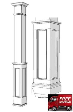 Square Paint Grade Columns made from MDF. Elite Square Column kits come unassembled and can be installed with or without an existing support post, an existing wall or it may stand alone. They are also a great ideas to add to wainscoting. Kitchen Columns, Wood Columns, Porch Columns, Interior Columns, Interior Trim, Interior Design, Wainscoting Kits, Fiberglass Columns, Square Columns