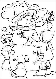 kleurplaat: sneeuwpop