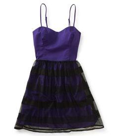 Mesh Overlay Woven Dress