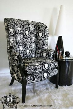BLACK VELVET BAROQUE TUFTED CHAIR WITH SWAROVSKI CRYSTALS ...