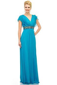 Sheath V-neck Floor-Length Chiffon Charmeuse Mother Of The Bride Evening Dress With Ruffle Beading