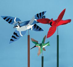 11 Wild Bird Whirligigs Wood Project Plan  Fun & colorful life-size birds that never tire of flying in the wind! Full-size patterns for eleven different whirligig designs. #diy #woodcraftpatterns