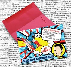 Superhero InvitationSet of 12 by theblueeggevents on Etsy, $20.00