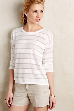 Sheer Stripe Pullover #anthropologie