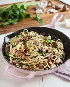 A fast and easy recipe for spaghetti tossed in a sautéed mushroom, garlic, and butter sauce.
