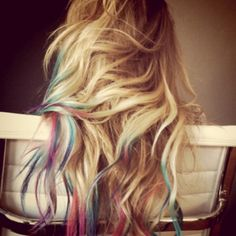 Hair Chalking - an easy, DIY way to get cheap, vibrant, temporary color that works even on dark hair. All you need is soft pastels, water and a little bit of heat.
