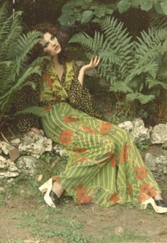 Gala Mitchell wearing Ossie Clark tulip dress
