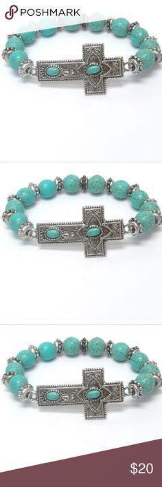 JUST IN Turquoise Cross Bracelet Turquoise stone cross stretch bracelet  Size: 1 1/2 inch stretch Purchase by 4:00pm Central Time for same day shipping. Jewelry Bracelets