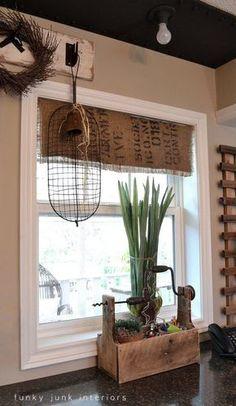 Funky Junk Interiors: My $7.00 burlap coffee bean sack window shades