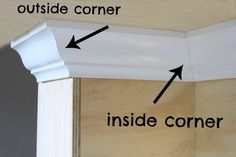 OR you can make a set of templates which give you a visual guide!  You hold your templates up in the corner you are trying to cut crown molding for and figure out what is what.
