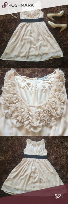 Charlotte Russe party dress Really pretty cream chiffon like material with a black waistband. Junior medium runs small. Worn once. Excellent condition. Charlotte Russe Dresses Midi