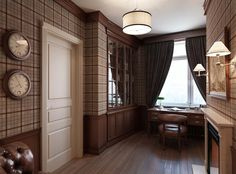 This office is given distinction with plaid walls - Snuggle Up With Plaid in Your Home