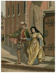 Alexandre Bida. Two Gentlemen of Verona. Act V, Scene 1, Eglamour and Silvia leave the abbey. Watercolor, 19th century. Folger Shakespeare Library.