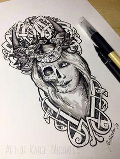 Goddess Hel ink drawing by me – Norse Mythology-Vikings-Tattoo Norse Mythology Tattoo, Norse Tattoo, Celtic Tattoos, Viking Tattoos, Sketch Tattoo Design, Music Tattoo Designs, God Tattoos, Body Art Tattoos, Tatoos