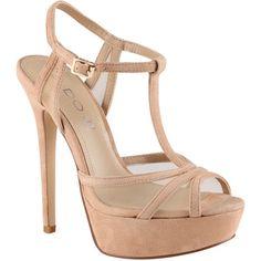 ALDO Fawnia sandals ($35) ❤ liked on Polyvore featuring shoes, sandals, heels, sapatos, high heels, bone suede, t strap platform sandal, platform heel sandals, leather sandals and platform sandals