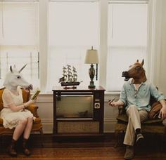Quirky Engagement Photos - Cincinnati, Ohio   Best Day Ever Photography   #engagementphotos #horsemask #cincinnatiwedding