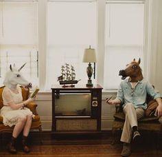 Quirky Engagement Photos - Cincinnati, Ohio | Best Day Ever Photography | #engagementphotos #horsemask #cincinnatiwedding