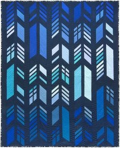 Feathers quilt, using True Blue color story. Pattern designed by Alison Glass. Fat quarter friendly.