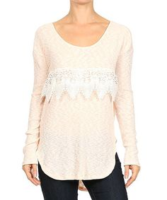 This Blush Crochet Scoop Neck Sweater by Le Lis Collection is perfect! #zulilyfinds