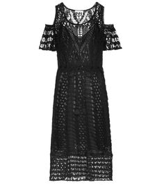 Black cotton crochet dress