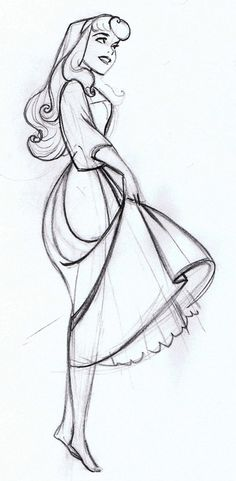 Briar Rose Sketch - I really love Walt Disney& concept behind the styling in this movie - one of my all-time favorites art-wise! Walt Disney, Disney Magic, Disney Art, Disney Pixar, Aurora Disney, Disney Characters, Orlando Disney, Disney Cruise, Drawing Sketches