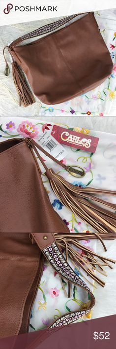 """Carlos Santana Katelyn Bucket Shoulder Bag Carlos by Carlos Santana Katelyn Bucket Bag in Cognac. Guitar strap woven handle. Single magnetic closure. Fringe tassel accent. Interior includes a zipper pocket and two small open pockets.    Measurements:  Height: 12.75"""" Length: 16"""" Height: 5"""" Handle drop: 4.25""""   Condition: NWT. Excellent.   Notes: Pre-Owned items may have been laundered  Additional measurements will be provided upon request Carlos Santana Bags Shoulder Bags"""