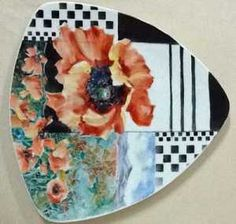 Hand-painted porcelain plate with poppies using contemporary design concepts by porcelain artist and china painting teacher, Paula White