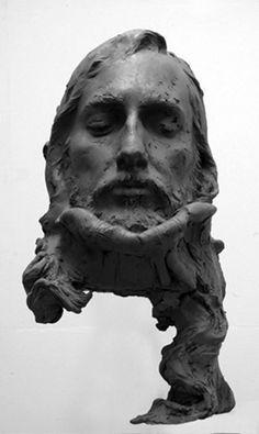 black - head - man - figurative sculpture - Eudald de Juana Gorriz