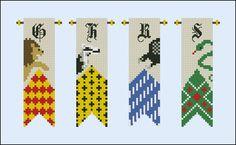 Harry potter - houses banners pattern by cloudsfactory. Harry Potter Perler Beads, Harry Potter Crochet, Harry Potter Diy, Cross Stitch Needles, Beaded Cross Stitch, Cross Stitch Embroidery, Cross Stitch Designs, Cross Stitch Patterns, Harry Potter Cross Stitch Pattern