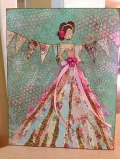 Julie Nutting canvas class - love the mixed media layering with papers and textures Mixed Media Canvas, Mixed Media Collage, Collage Art, Prima Paper Dolls, Prima Doll Stamps, Altered Canvas, Altered Art, Collages, Paper Art