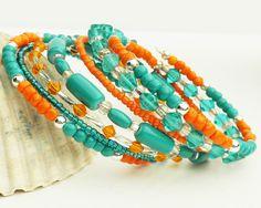 Memory Wire Bracelet Aqua Orange 7 Wraps by ReneeBrownsDesigns