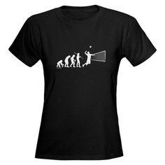 Volleyball Evolution Funny Womens Dark T-Shirt by CafePress - L Black