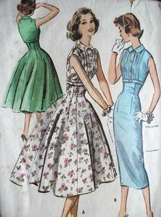 1950s  McCALLS 4009 DRESS PATTERN SLIM or FULL SKIRTED EMPIRE WAIST DRESS ROCK A BILLY