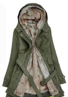 Army Green Plain Buttons Pockets Acrylic Padded Coat $76