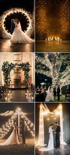 romantic lighted wedding ceremony backdrop ideas #weddingideas