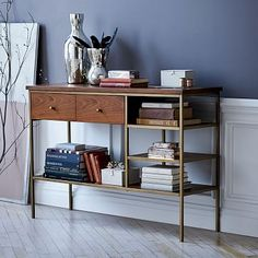 "West Elm console $500 (Entryway, Record player, Bar - 48""w x 15""d x 32.72""h) - See Side Table as well (20""sq x 23.5""h)"