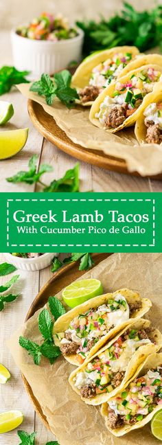 In the mood for some unique taco recipes? These Greek lamb tacos are perfect for the occasion! You'll love how these easy lamb tacos come together quickly, and they're served with a cucumber pico de gallo for an extra burst of Mediterranean flair. #greeklambtacos #fusiontacos #lambtacosgreek #greektacos Fall Dinner Recipes, Gluten Free Recipes For Dinner, Brunch Recipes, Healthy Dinner Recipes, Mexican Food Recipes, Breakfast Recipes, Delicious Recipes, Healty Dinner, Ethnic Recipes