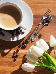 Coffee and tulips stock photography
