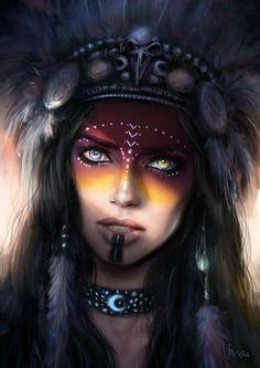 f Sorcerer Cleric multi-class portrait Ren Deil Fantasy Women, Fantasy Art, Character Portraits, Character Art, Tatoo Art, War Paint, Native American Art, Female Art, Amazing Art