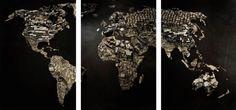 Vik Muniz Mapa Mundi - Série imagens de sucata - Digital C-Print 65 x 135