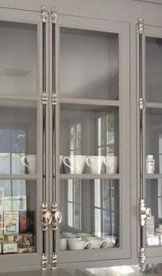 Cremone bolt example on kitchen cabinet. Dwell on Design Home Decor Kitchen, Kitchen Interior, Home Kitchens, Kitchen Design, Kitchen Hardware, Bathroom Hardware, Cabinet Hardware, Home Design, Kitchen And Bath Gallery