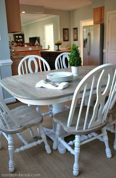 "Two Toned Table - How to refinish a table ""Weathered Oak"" by Minwax"