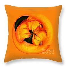 "Golden Floral Spherical Art by Kaye Menner Throw Pillow 14"" x 14"""