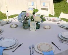 Hydrangeas and roses n mason jars for a Kentucky vintage rustic wedding!