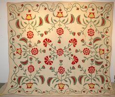 """Antique Floral Applique Quilt, 91"""" x 100"""", Burley Auction Group, Live Auctioneers"""