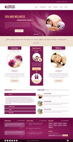 Lotus, Joomla Responsive Purple SPA Salon Template #Spa #Salon #Massage #Beauty #Website