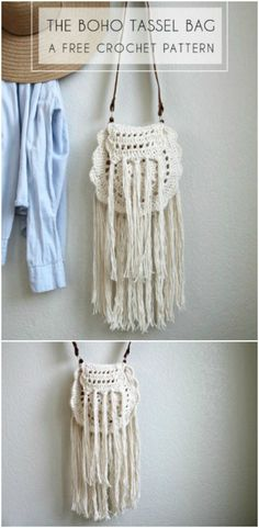 Boho Tassel Free Crochet Bag Pattern - 101 Free Crochet Patterns For Beginners That Are Super Easy - DIY & Crafts