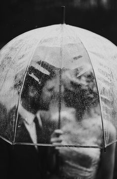 • love couple cute Black and White vintage old kiss rain umbrella together 1950 My Love Darling awol-society •
