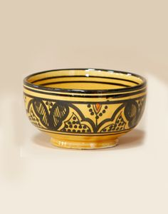 Moroccan Ceramic Soup Bowl with Safi Design In Yellow - 10cm